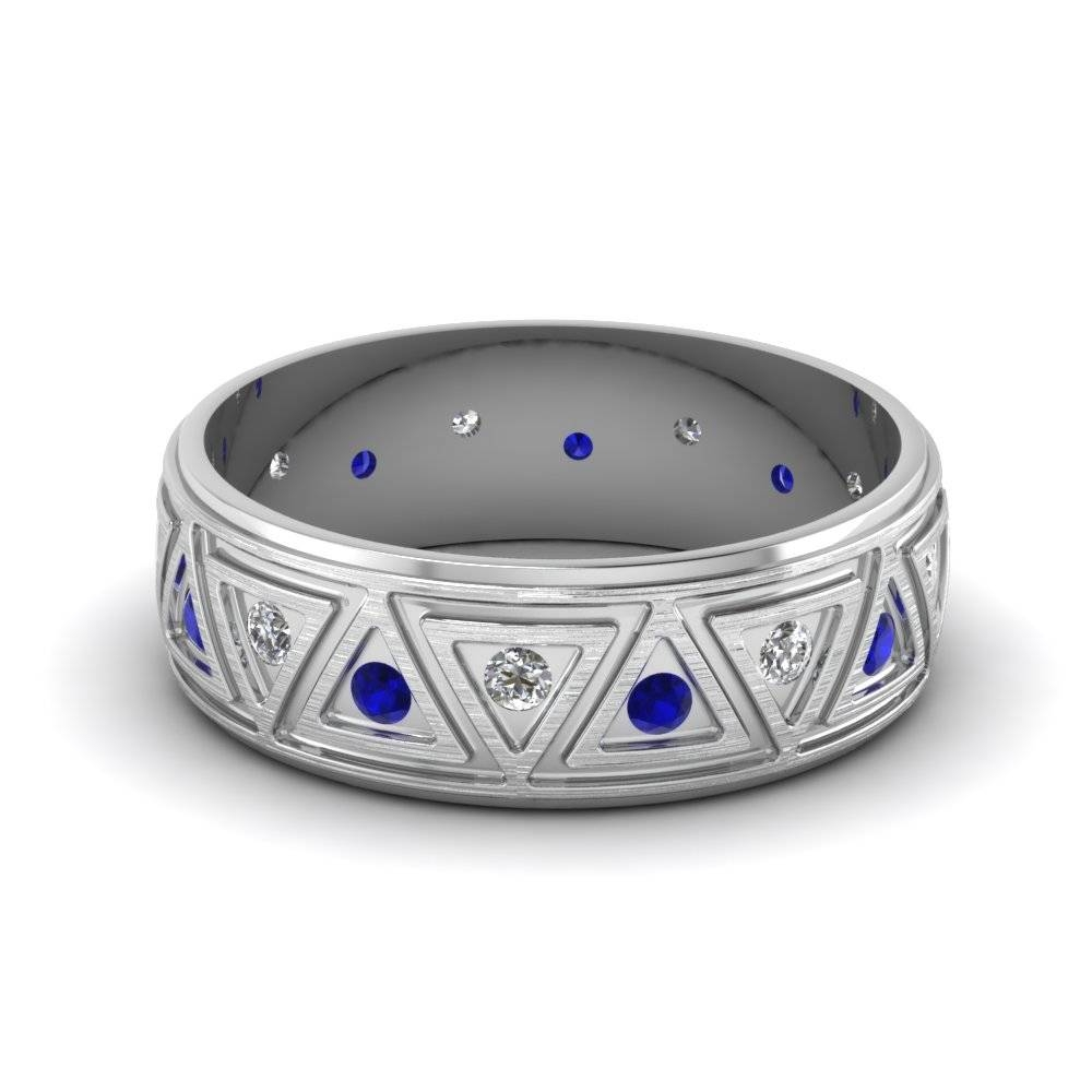 White Gold Round Blue Sapphire Mens Wedding Band With White Within Mens Diamond And Sapphire Wedding Bands (View 10 of 15)