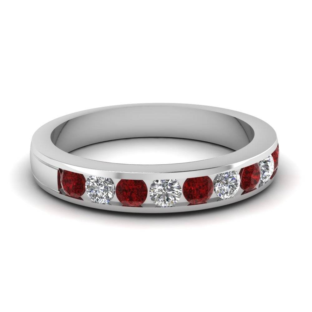 White Gold Round Red Ruby Linear Elegance Wedding Band With White For Blue Sapphire Men's Wedding Bands (View 12 of 15)