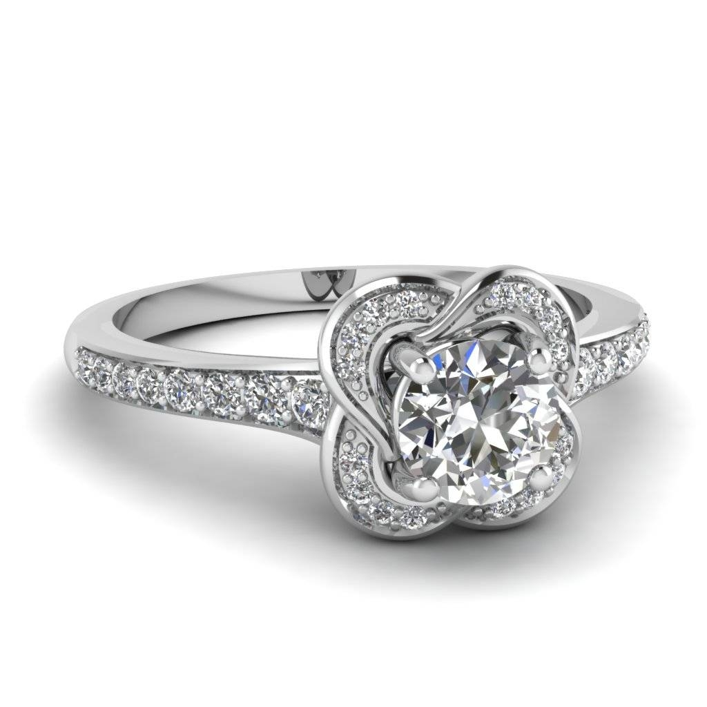 White Gold Round White Diamond Engagement Wedding Ring In Pave Set For Engagement Wedding Rings (View 12 of 15)