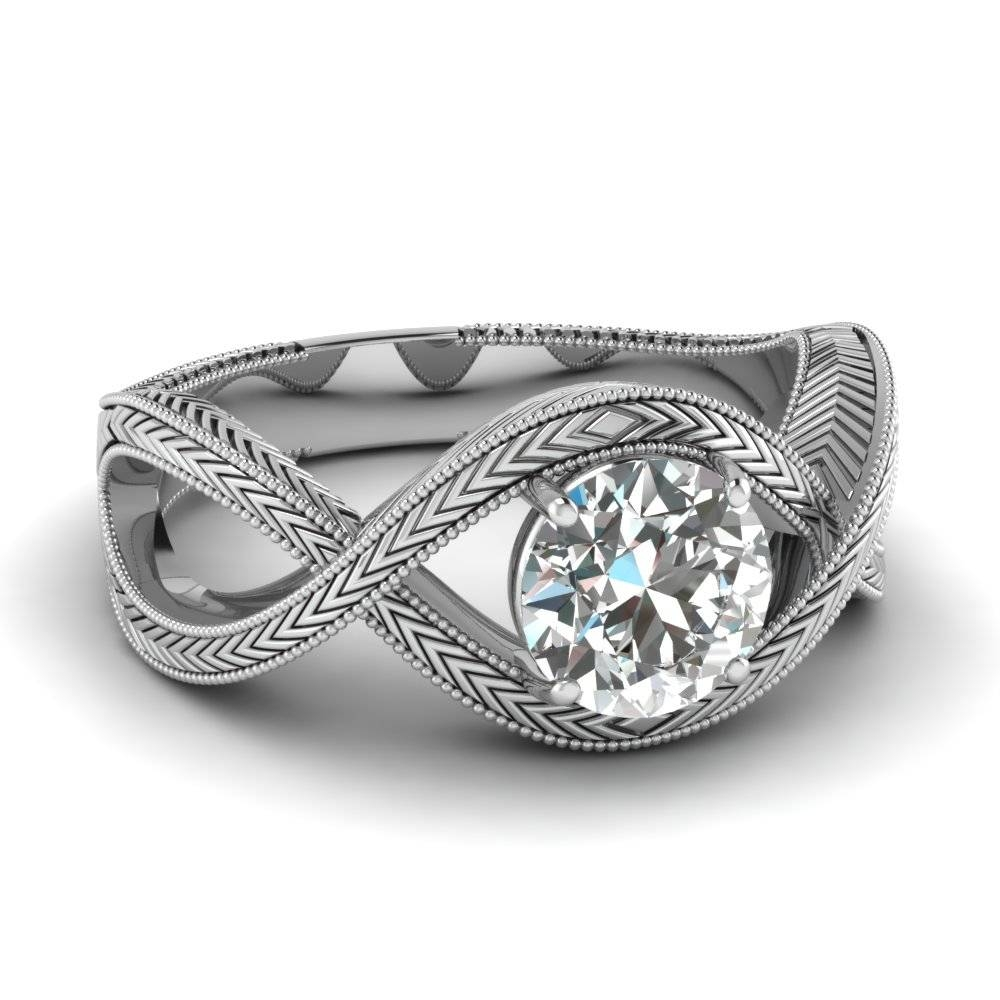 White Gold Round White Diamond Engagement Wedding Ring In Prong Pertaining To Engagement Wedding Rings (View 13 of 15)