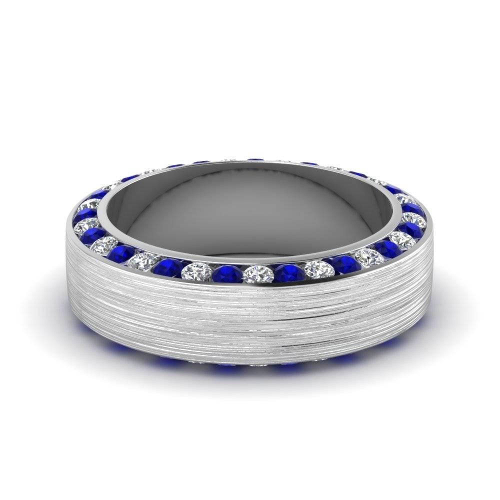 White Gold Round White Diamond Mens Wedding Band With Blue In Mens Blue Sapphire Wedding Bands (View 14 of 15)
