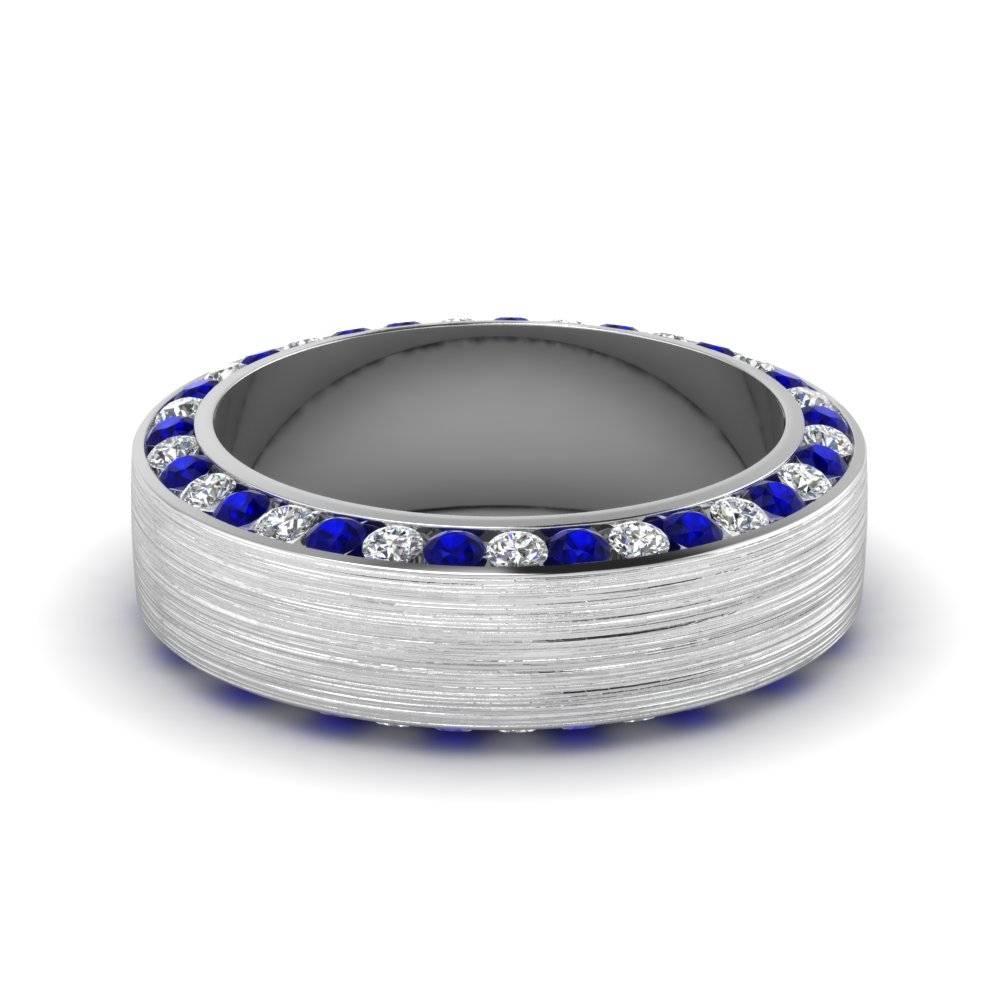 White Gold Round White Diamond Mens Wedding Band With Blue Within Men's Wedding Bands With Blue Sapphire (View 2 of 15)