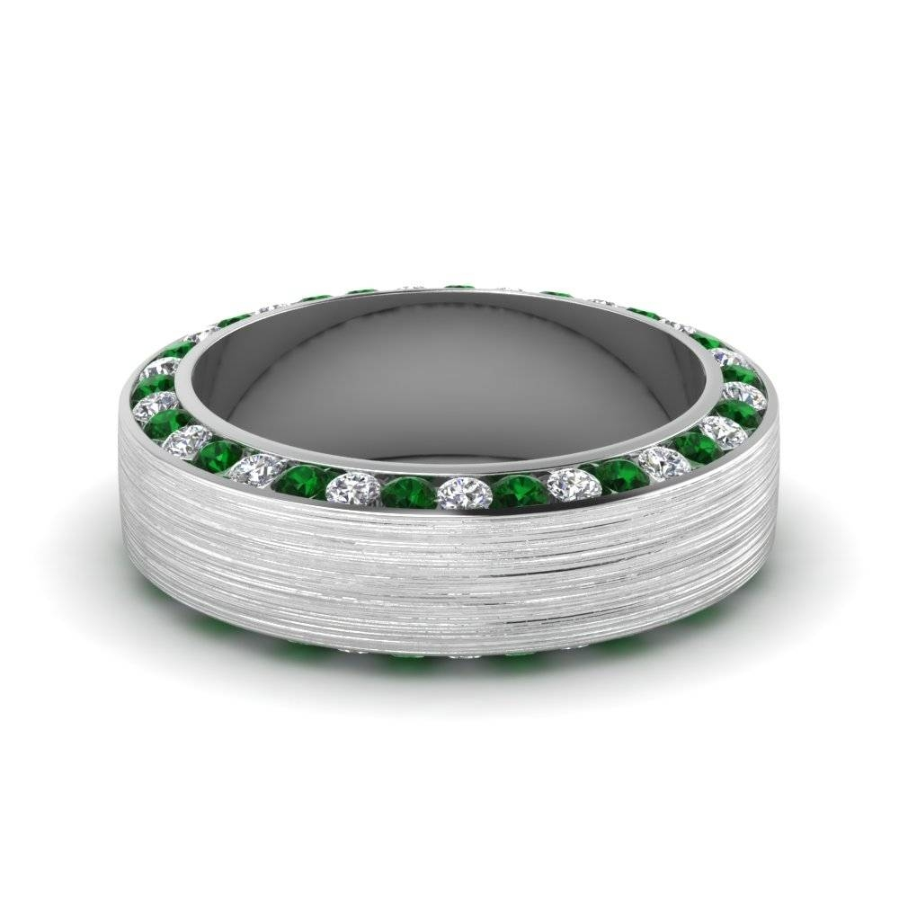 White Gold Round White Diamond Mens Wedding Band With Green Regarding Men's Wedding Bands Emerald (View 15 of 15)