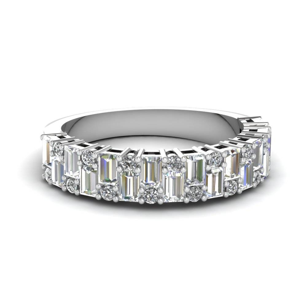 White Gold Round White Diamond Wedding Band In Shared Prong Set With Vintage Women's Wedding Bands (View 6 of 15)