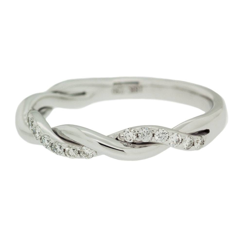 White Gold Single Row Diamond Twisted Wedding Band | Mouradian Regarding Twisted Diamond Wedding Bands (Gallery 8 of 15)