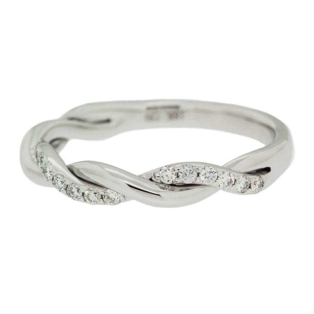White Gold Single Row Diamond Twisted Wedding Band | Mouradian Regarding Twisted Wedding Bands (View 14 of 15)