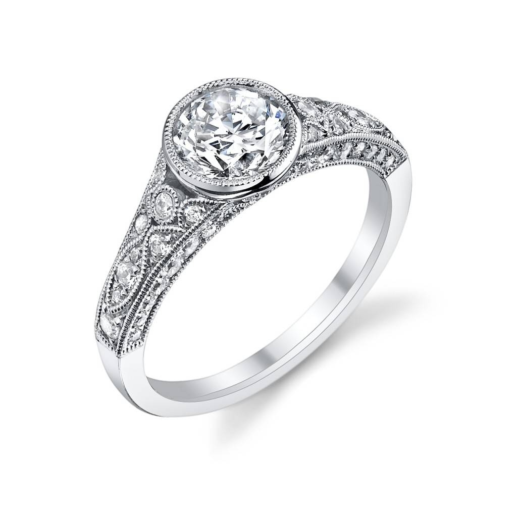 White Gold Vintage Bezel Diamond Engagement Ring : Sylvie Intended For Bezel Wedding Rings (View 15 of 15)