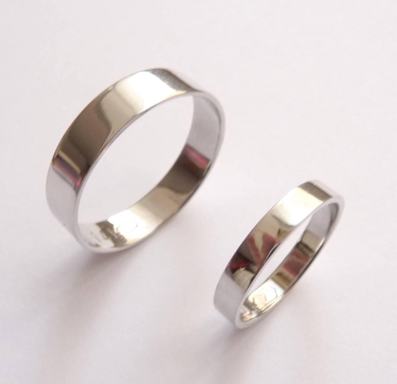 White Gold Wedding Band Set Women Wedding Ring Men Wedding Intended For Men And Women Wedding Bands Sets (View 9 of 15)