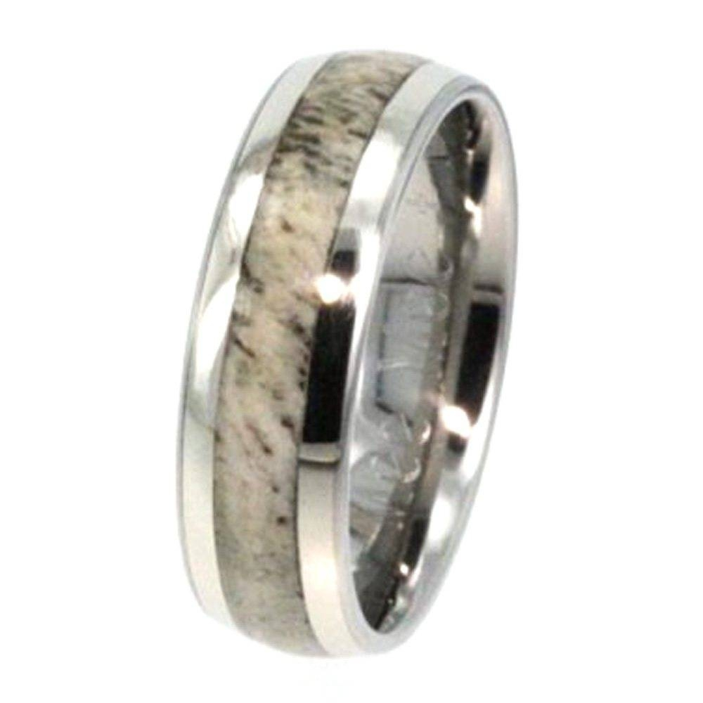 White Gold Wedding Band With Deer Antler Inlay 1076 Jewelryjohan Inside Horn Inlay Titanium Wedding Bands (View 5 of 15)