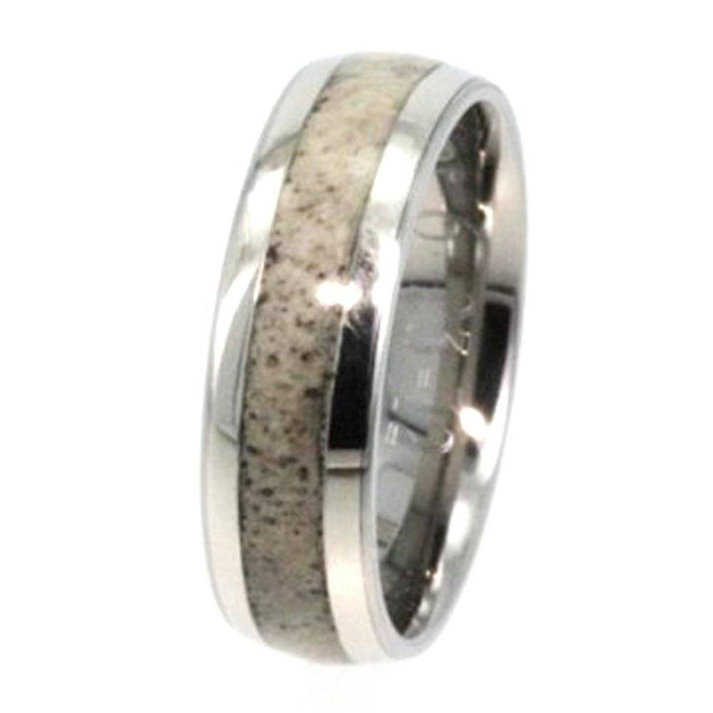 White Gold Wedding Band With Deer Antler Inlay 1076 Jewelryjohan Intended For Horn Inlay Titanium Wedding Bands (View 12 of 15)