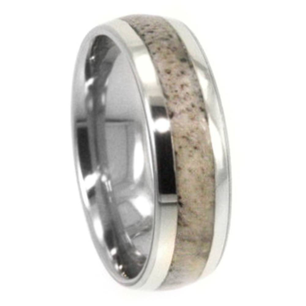 White Gold Wedding Band With Deer Antler Inlay 1076 Jewelryjohan Pertaining To Horn Inlay Titanium Wedding Bands (View 4 of 15)