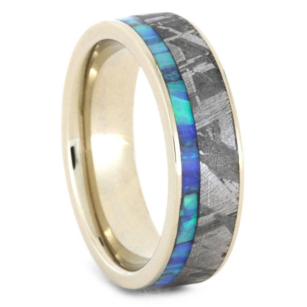 White Gold Womens Wedding Band, Opal Ring With Meteorite, Size 7 With Opal Wedding Bands (View 15 of 15)