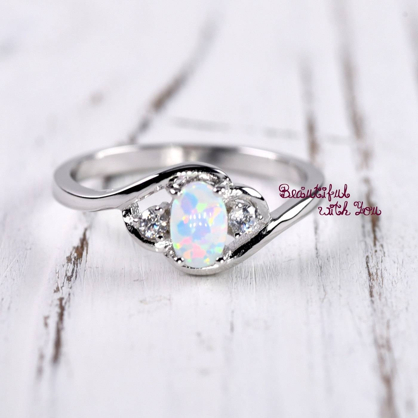 White Opal Ring Silver Lab Opal Ring Opal Wedding Band Pertaining To Opal Wedding Rings (View 14 of 15)