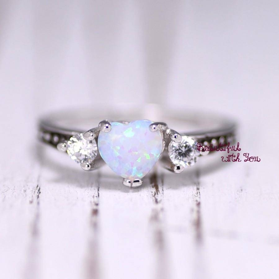 White Opal Ring, Silver Lab Opal Ring, Opal Wedding Band, Womens Pertaining To Opal Wedding Rings (View 10 of 15)
