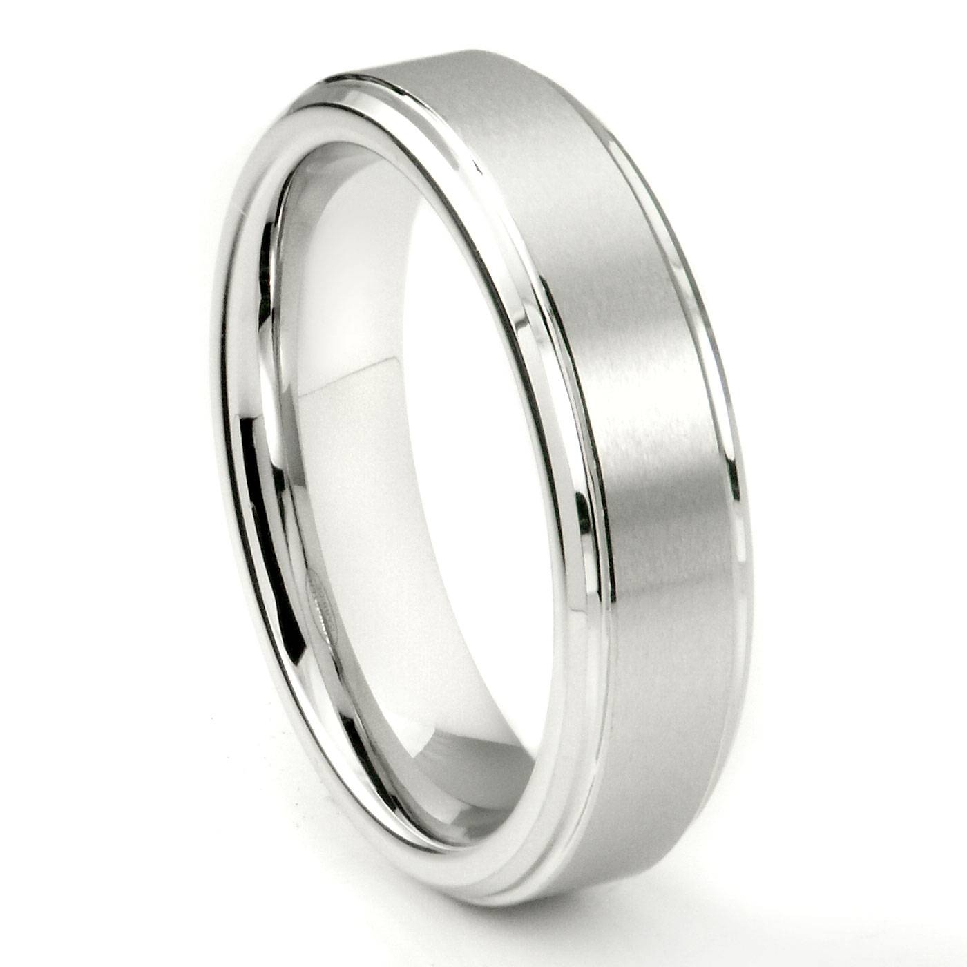 White Tungsten Carbide 6Mm Wedding Band Ring W/ Raised Center Intended For Tungsten Wedding Bands (View 14 of 15)
