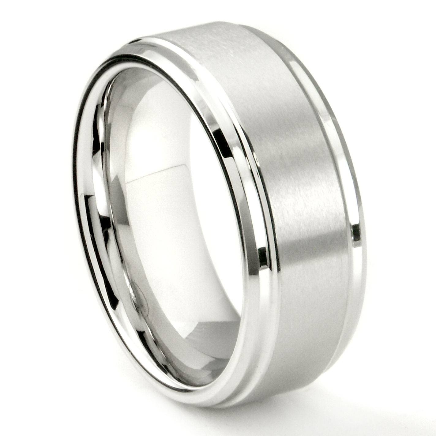 White Tungsten Carbide 9mm Brush Center Wedding Band Ring For Tungsten Wedding Bands (View 9 of 15)