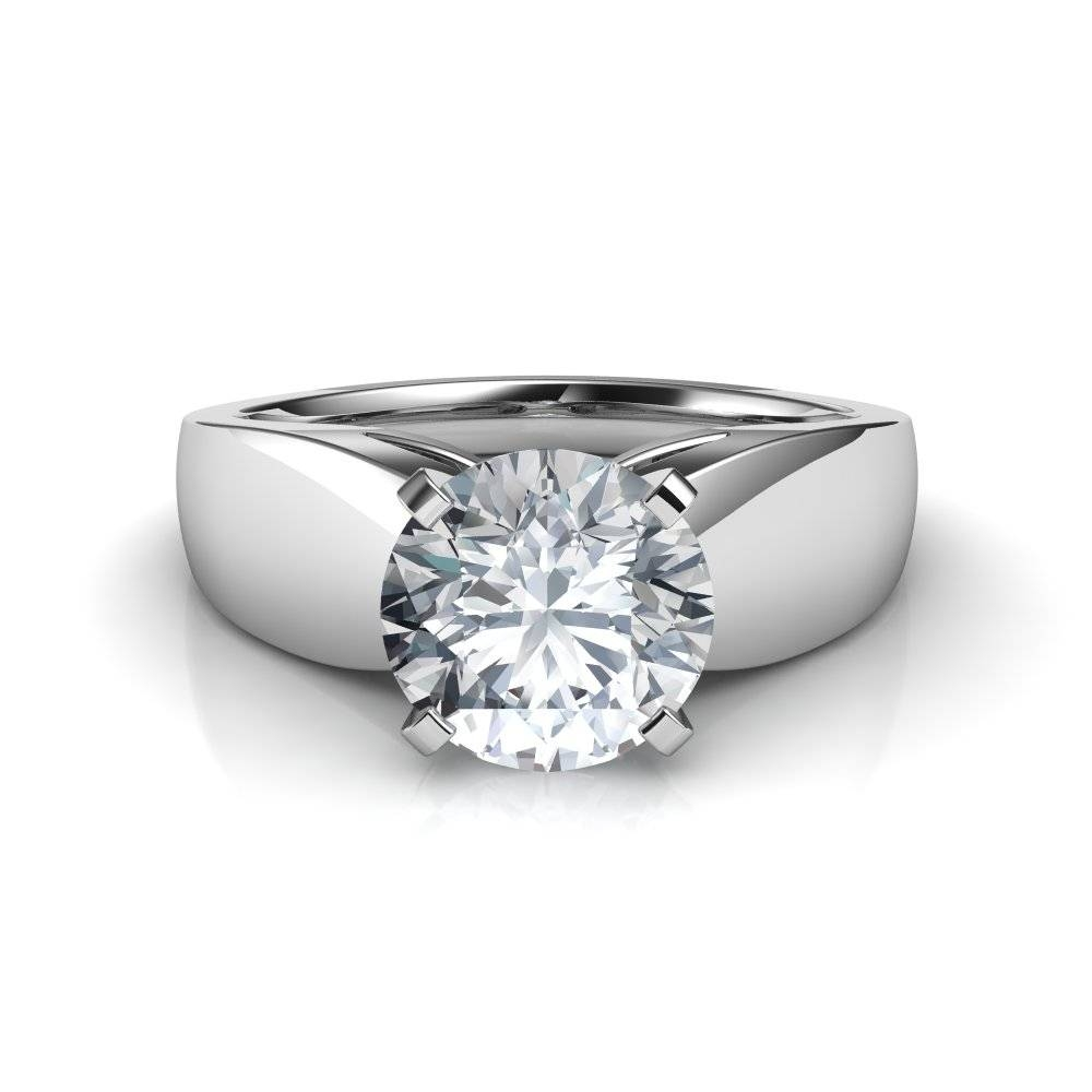 Wide Band Cathedral Solitaire Diamond Engagement Ring Pertaining To Engagement Rings With Bands (View 15 of 15)