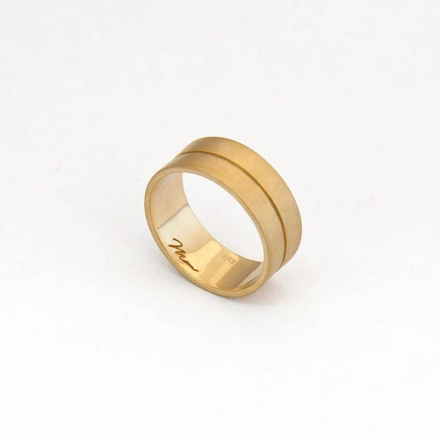 Wide Band Gold Ring, Wide Wedding Gold Band, 14K Gold Minimalist Throughout Unique Wide Wedding Bands (View 12 of 15)