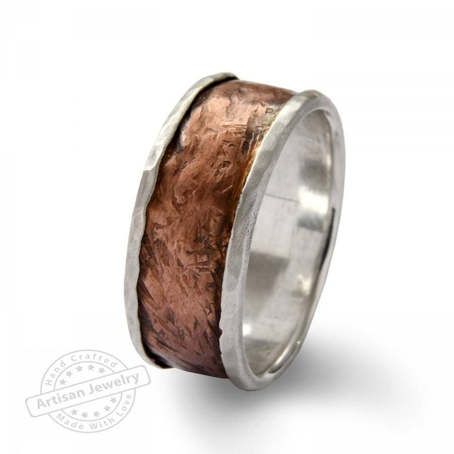 Wide Infinty Men Band, Sterlind Silver And Copper Spinners Ring Regarding Copper Men's Wedding Bands (View 11 of 15)