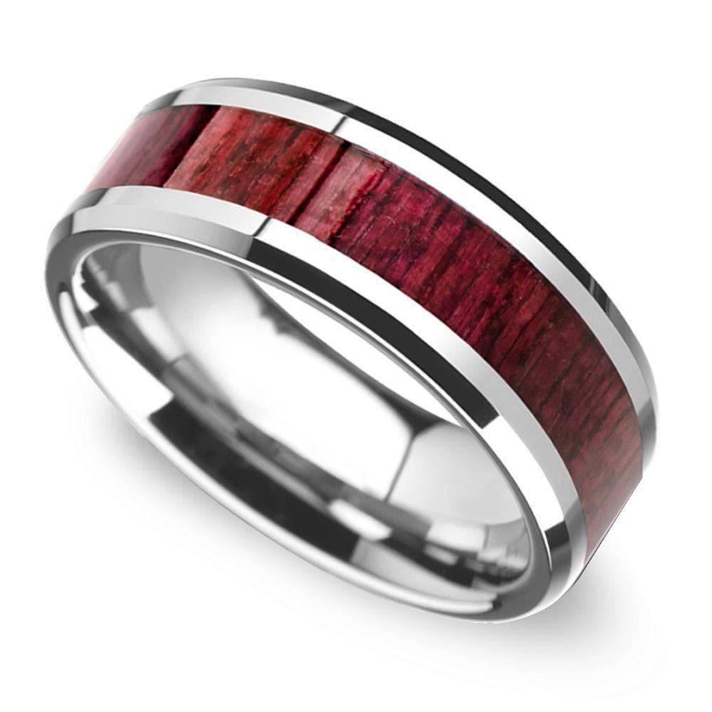 Wide Koa Wood Inlay Men's Wedding Ring In Tungsten For Tungsten Wedding Bands With Wood Inlay (View 15 of 15)
