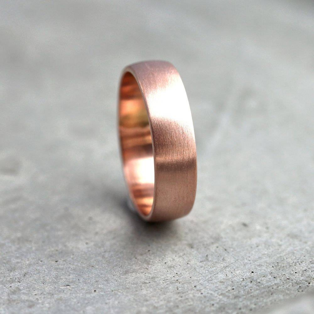Wide Rose Gold Men's Wedding Band Recycled 14K Rose Gold With Rose Gold Wedding Bands For Men (View 15 of 15)