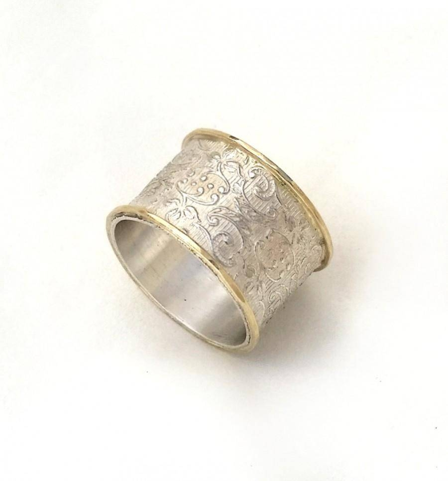 Wide Silver Wedding Ring, Flower And Leaf Pattern, Women's Wedding Inside Wide Women's Wedding Bands (View 15 of 15)