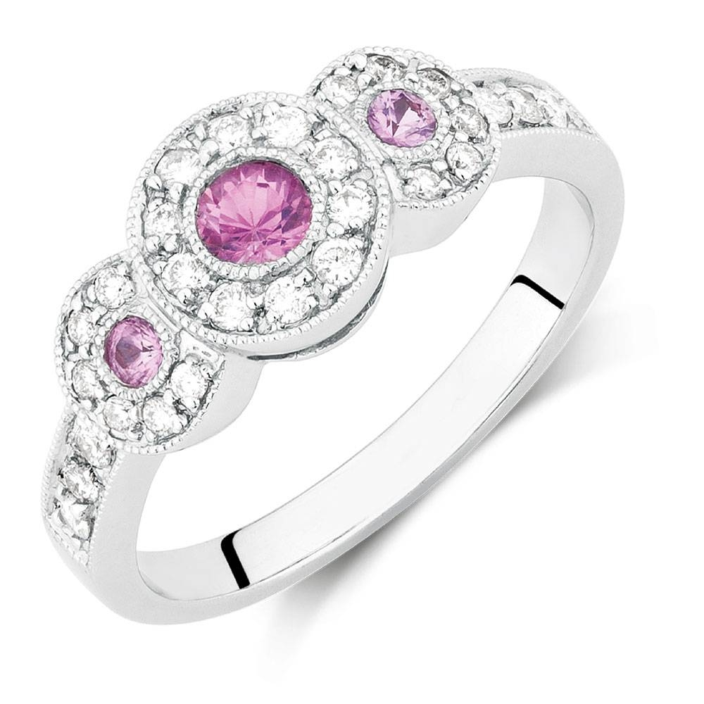 With Pink Sapphire & 1/4 Carat Tw Of Diamonds In 10Kt White Gold Throughout Pink Sapphire Engagement Rings (View 15 of 15)