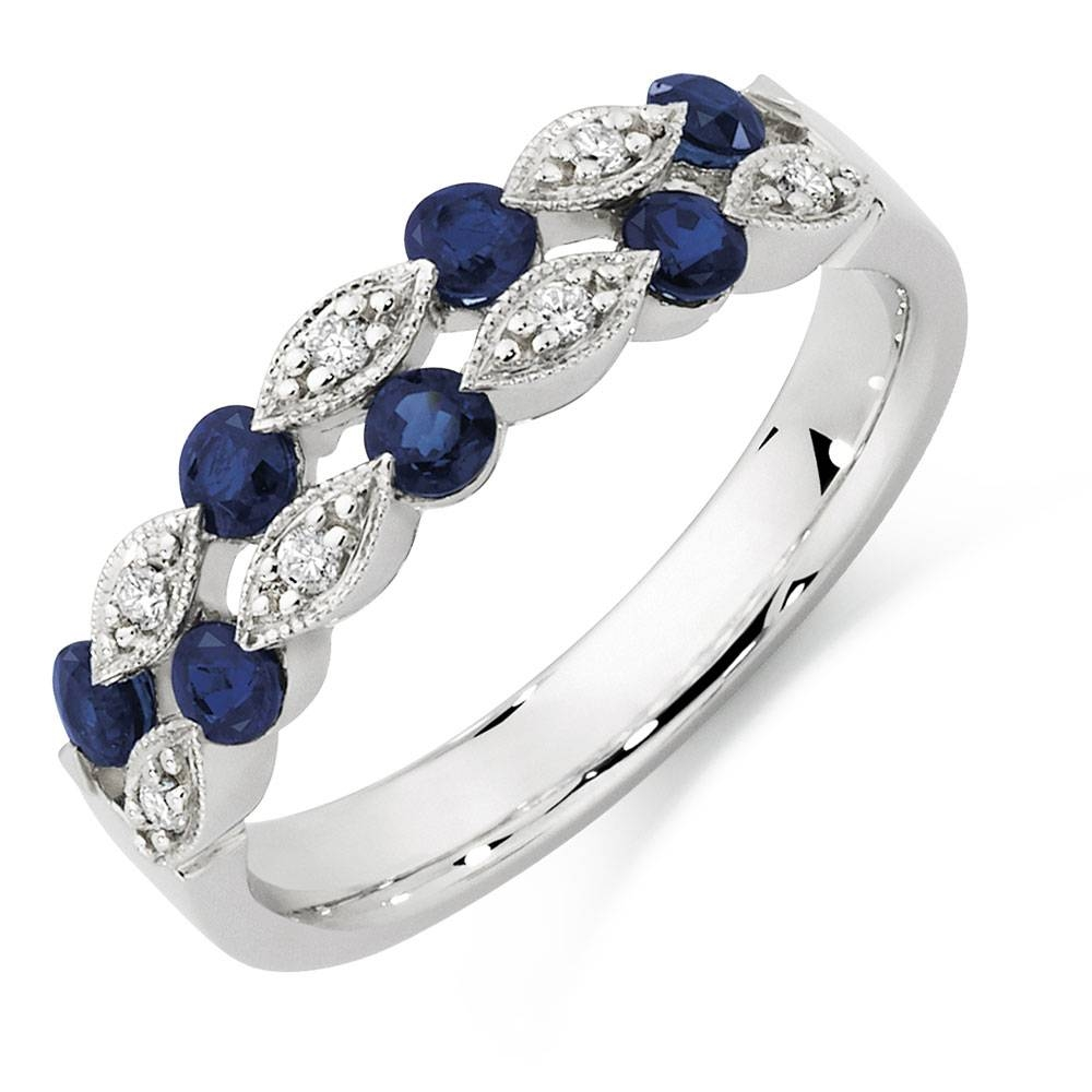 With Sapphire & Diamonds In 10ct White Gold In Wedding Rings With Diamonds And Sapphires (View 11 of 15)