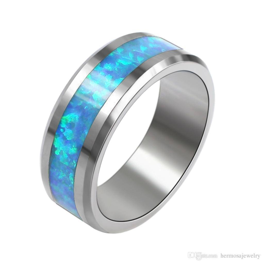 Women Ladies Rings Fashion Thin Blue Line Tungsten Opal Ring With Blue Line Wedding Bands (View 14 of 15)
