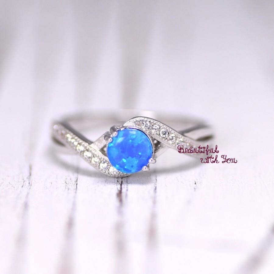 Womens Blue Opal Wedding Ring,opal Ring,silver Lab Opal Ring,opal For Tie The Knot Engagement Rings (View 3 of 15)