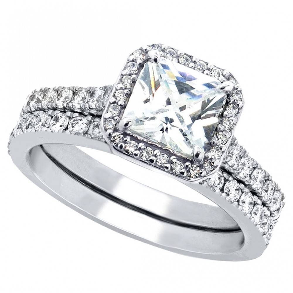 Women's Cubic Zirconia Princess Cut Sterling Silver Engagement Inside Engagement Wedding Rings (Gallery 10 of 15)