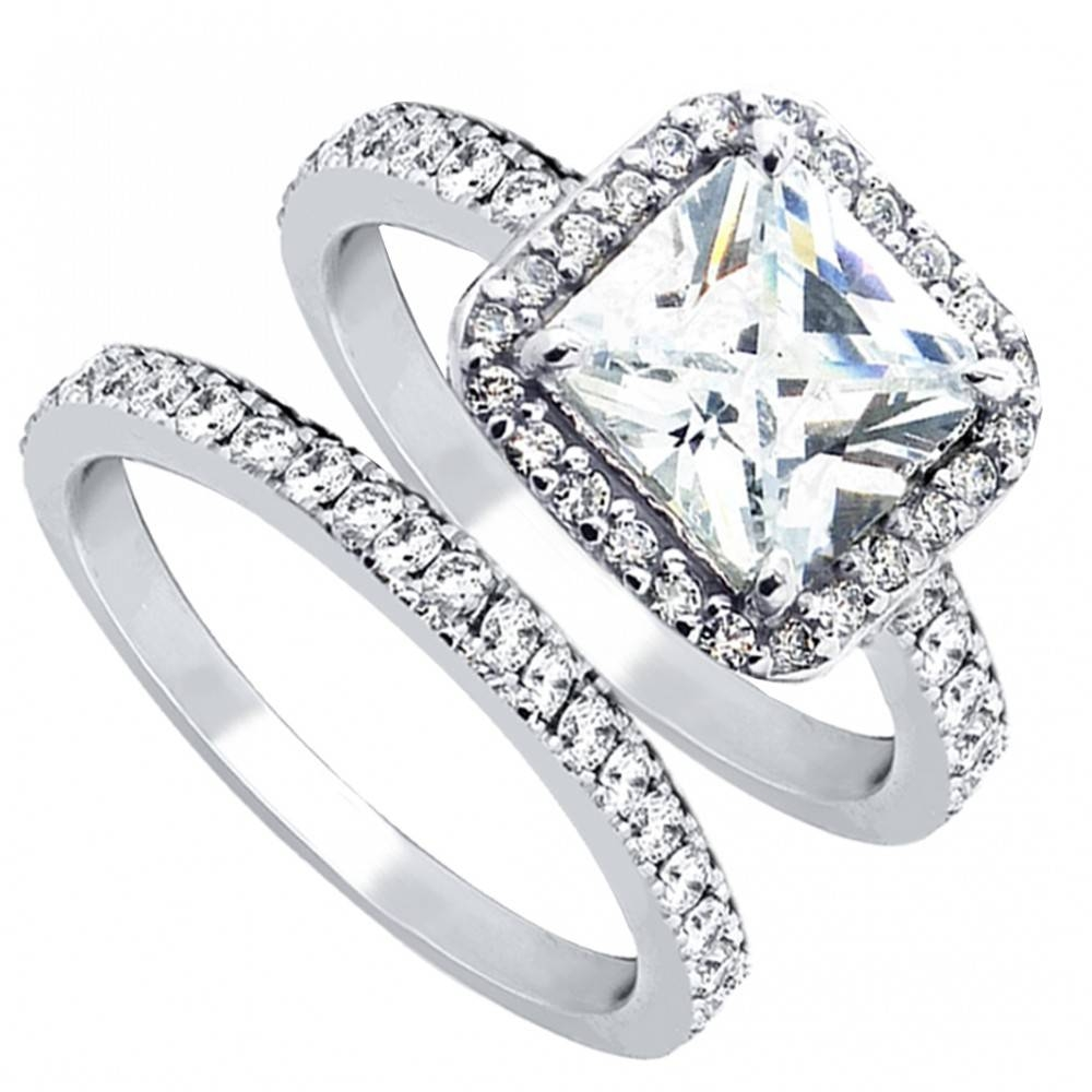 Women's Cubic Zirconia Princess Cut Sterling Silver Engagement With Engagement Ring Sets For Women (View 13 of 15)