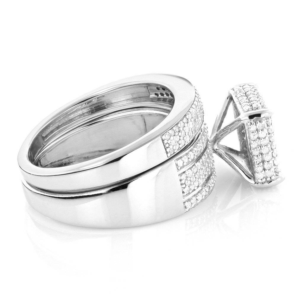 Women's Diamond Ring Set In Sterling Silver Engagement Ring & Band Pertaining To Silver Engagement Rings For Women (View 15 of 15)
