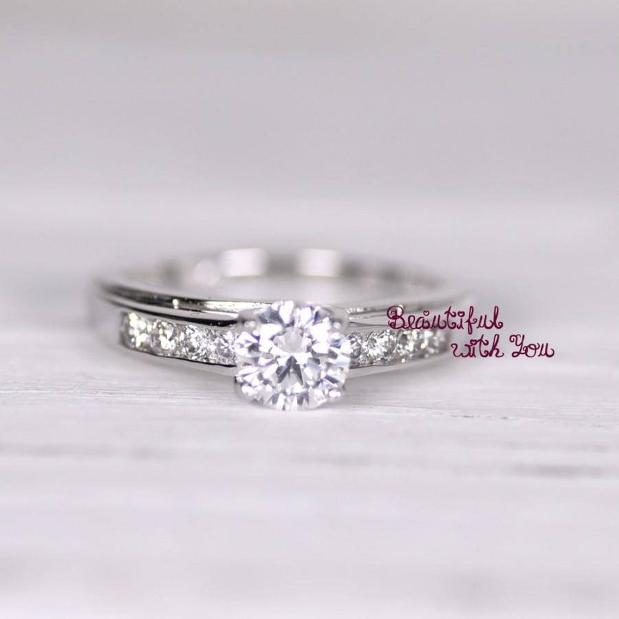 Womens Engagement Ring Promise Ring For Her Simulated Diamond With Sterling Silver Wedding Bands For Her (View 15 of 15)