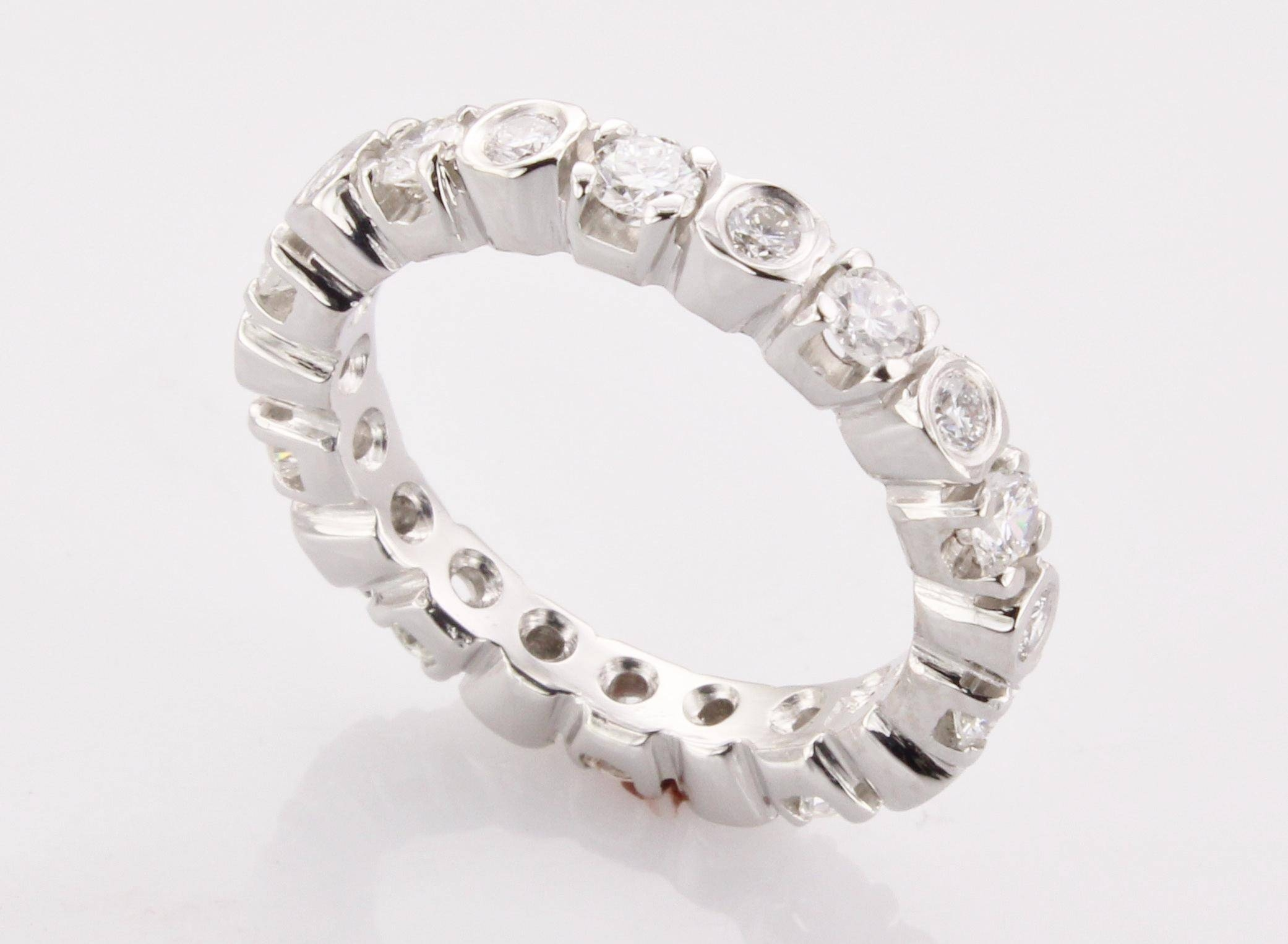 Women's Platinum Eternity Band – Made In Boston Ma Pertaining To Wedding Rings With Diamonds All The Way Around (View 3 of 15)