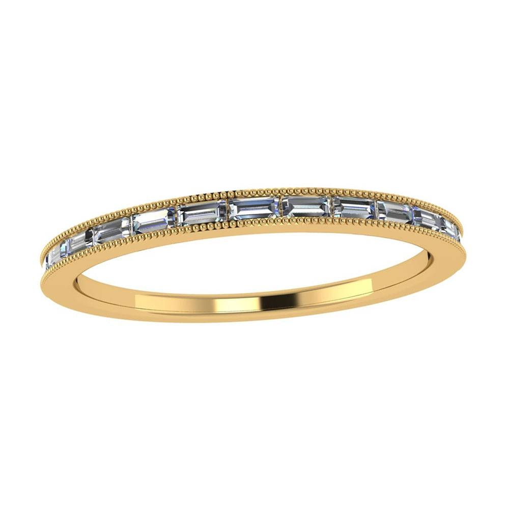 Womens Wedding Band, Baguette Diamon Band In 10k Yellow Gold With Regard To Wedding Bands With Baguettes (View 14 of 15)