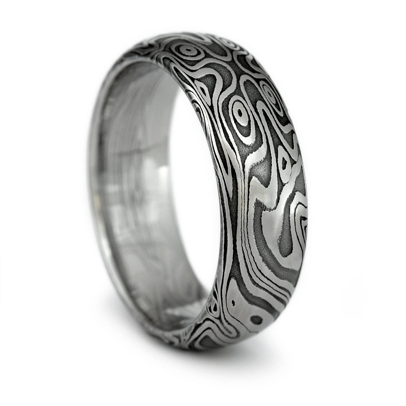 Wood Grain Ring Damascus Steel Men's Domed Wedding Band Intended For Men's Wood Grain Wedding Bands (View 3 of 15)