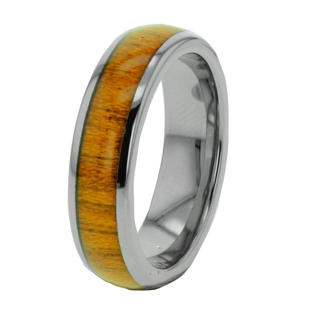 Wood Inlay Tungsten Band Duo Step Edge Women's Men's Wedding Ring Pertaining To Wood And Metal Wedding Bands (View 14 of 15)