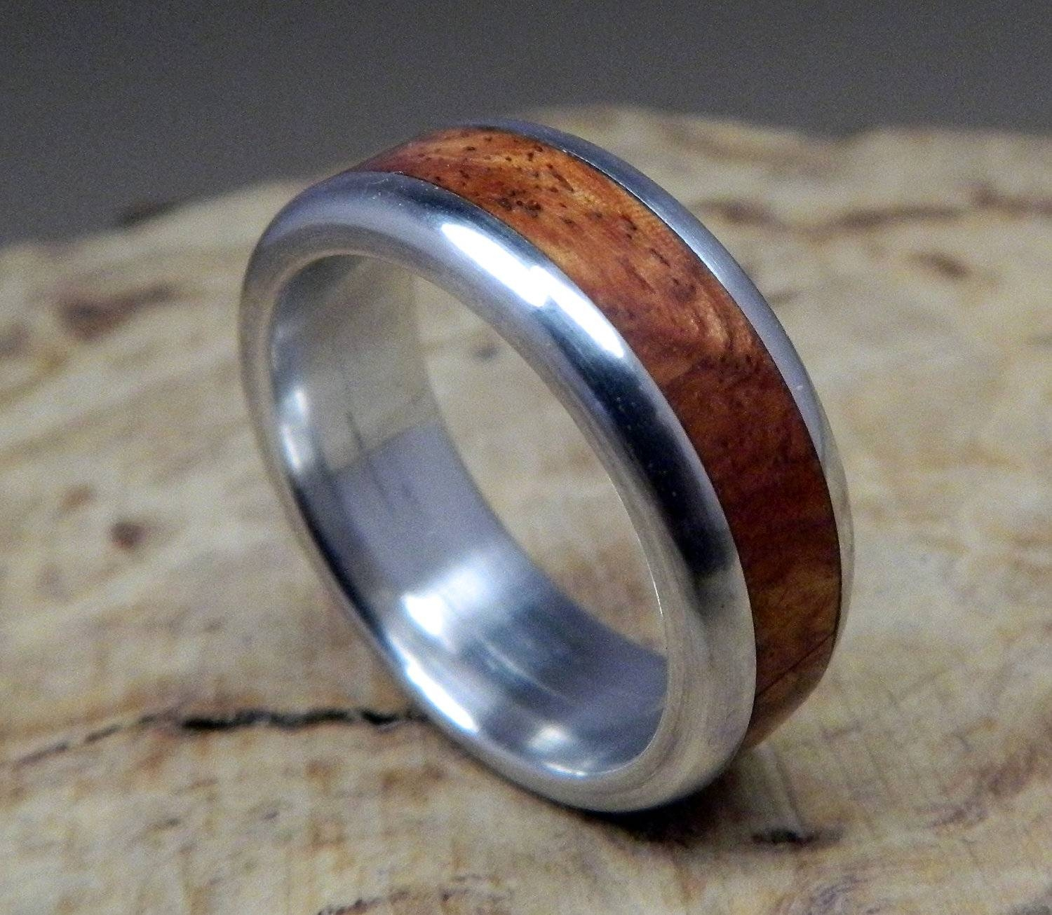 Wood Ring, Aluminum Ring, Wedding Ring, Wooden Ring, Wood Inlay For Men's Wedding Bands Wood Inlay (View 14 of 15)