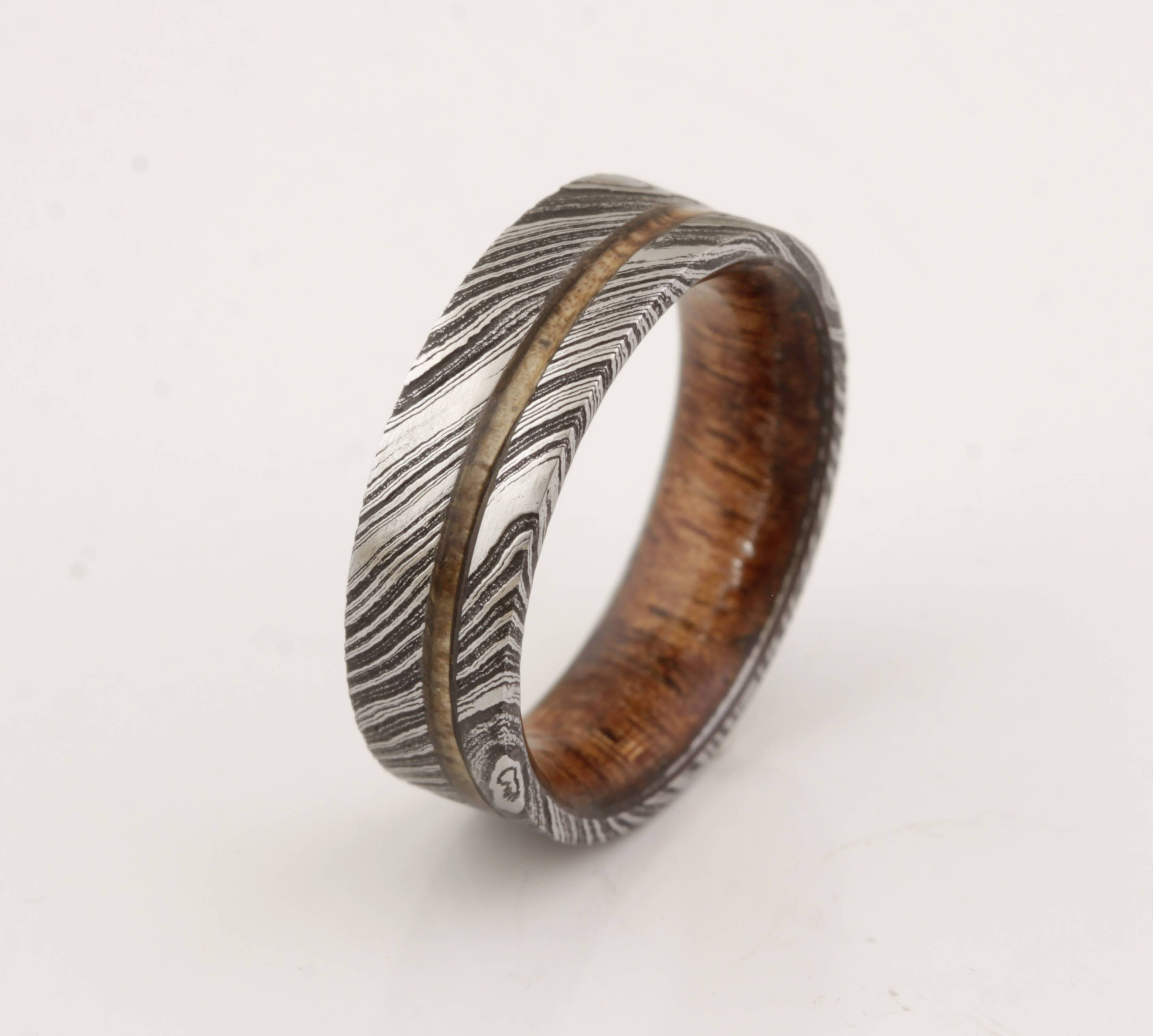 Wood Ring Damascus Steel Ring Wood Wedding Band Man Ring With Regard To Damascus Steel Men's Wedding Bands (View 15 of 15)