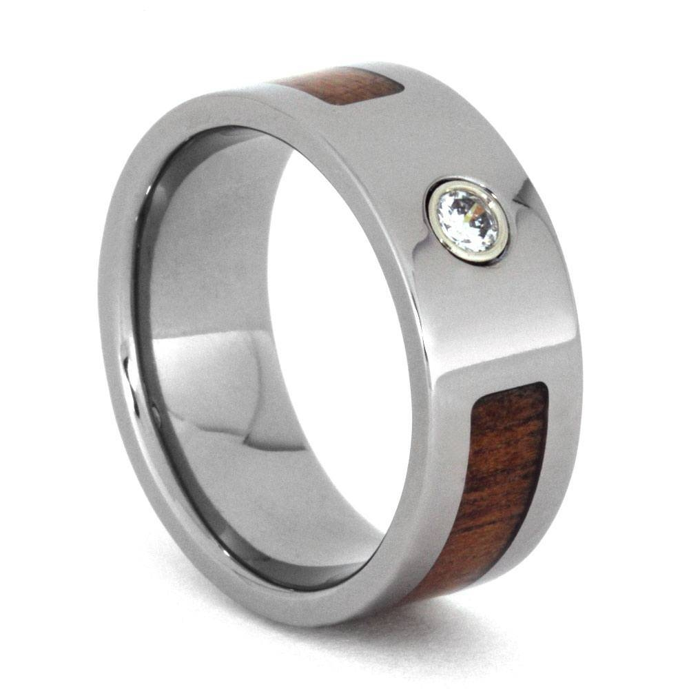 Wood Wedding Band With Bezel Set Diamond, Mens Koa Wood Ring Throughout Mens Wooden Wedding Bands (View 4 of 15)