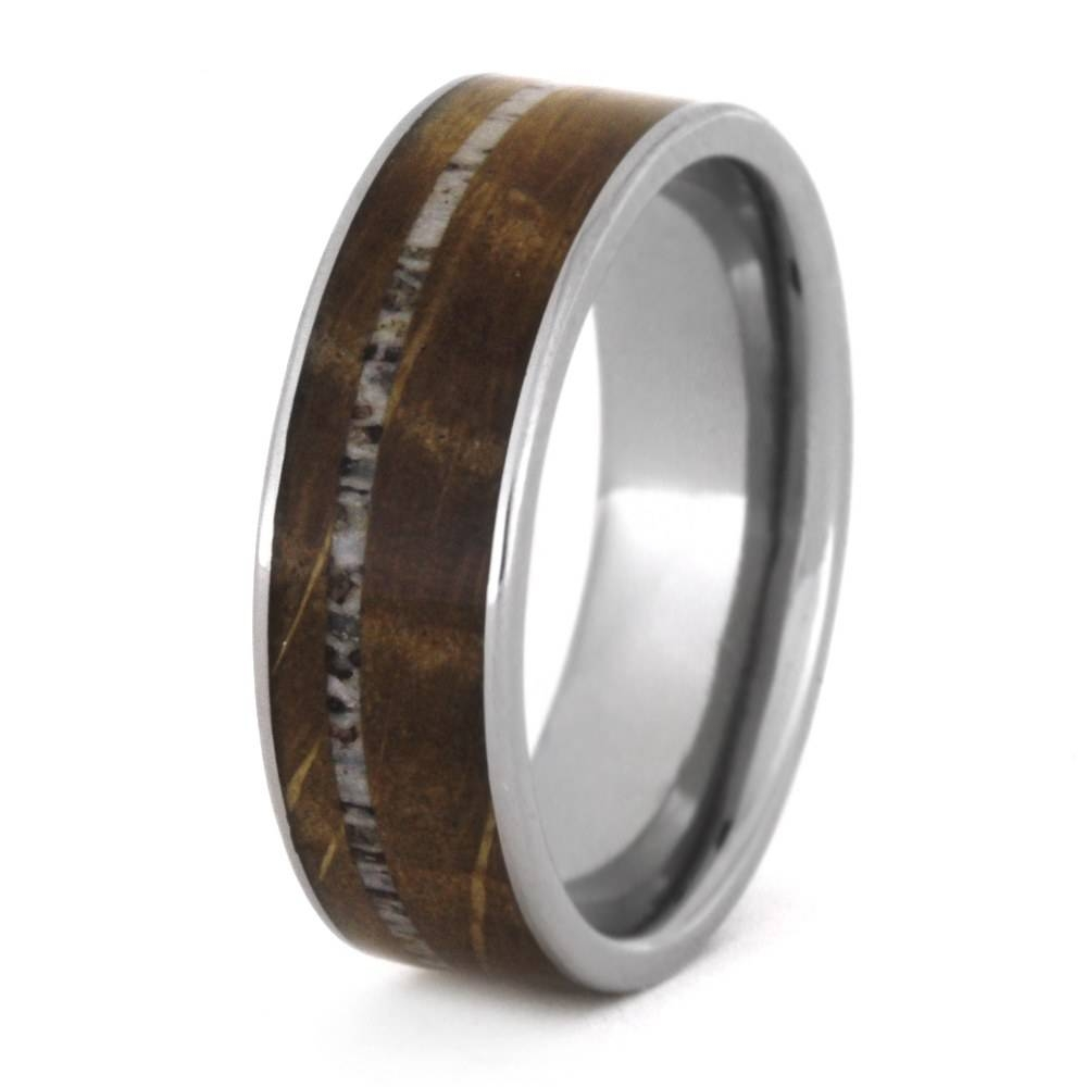 Wood Wedding Band With Deer Antler, Mens Titanium Wedding Ring For Mens Wedding Bands With Deer Antlers (View 7 of 15)