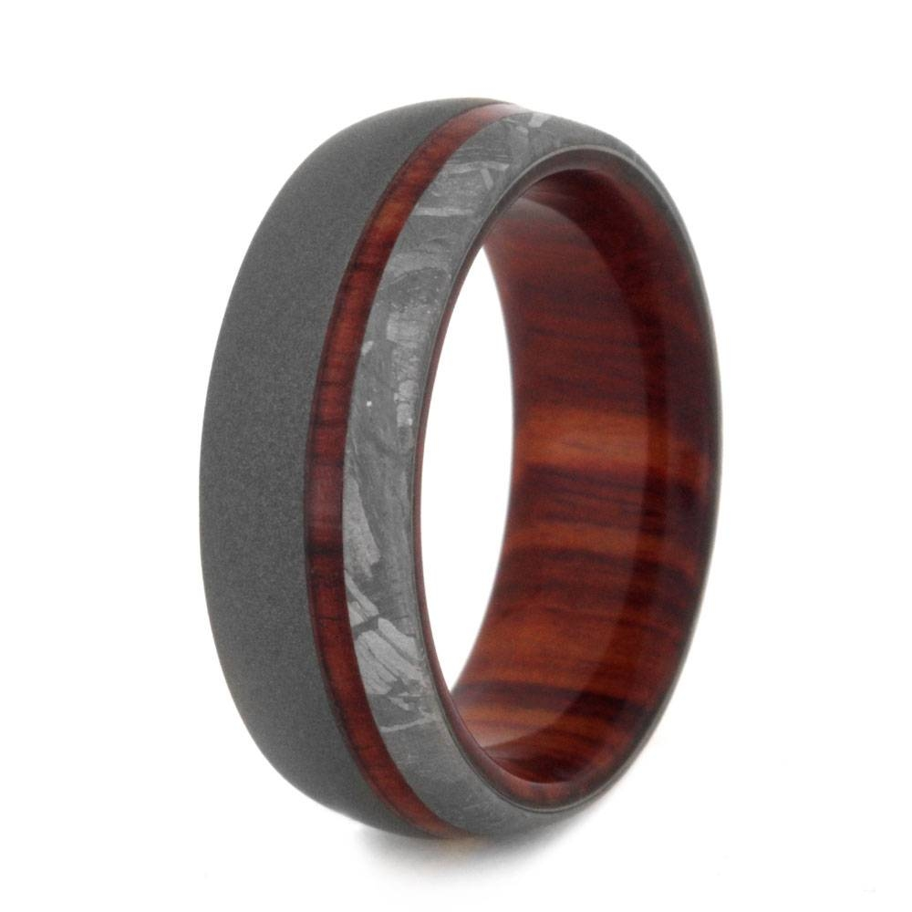 Wood Wedding Band With Sandblasted Titanium And Meteorite Regarding Men's Wedding Bands Meteorite (View 4 of 15)