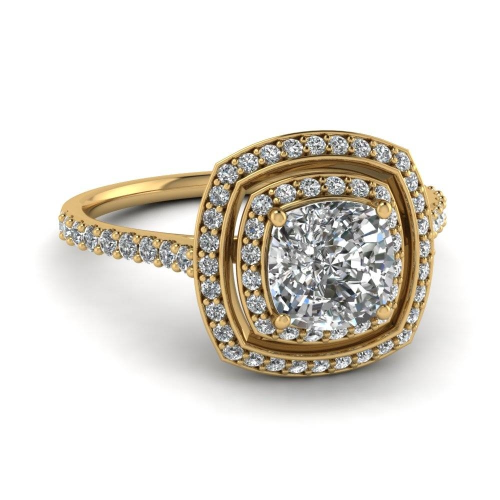Yellow Gold Cushion White Diamond Engagement Wedding Ring In Pave In 18K Gold Wedding Rings (Gallery 3 of 15)
