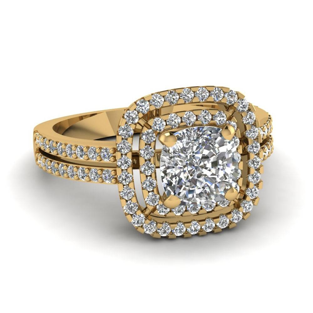 Yellow Gold Cushion White Diamond Engagement Wedding Ring In Within Gold Engagement And Wedding Rings (Gallery 12 of 15)