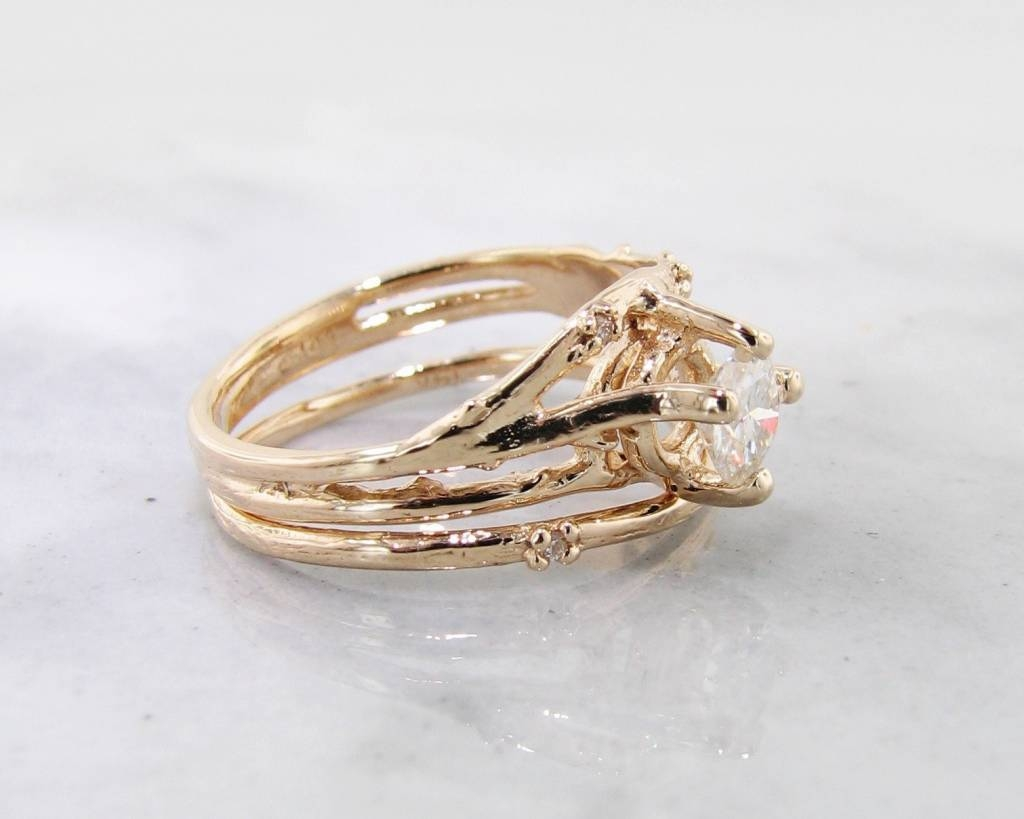 Yellow Gold, Diamond Wedding Ring Set, Cherry Blossom – Wexford Throughout Rustic Engagement Rings (View 11 of 15)
