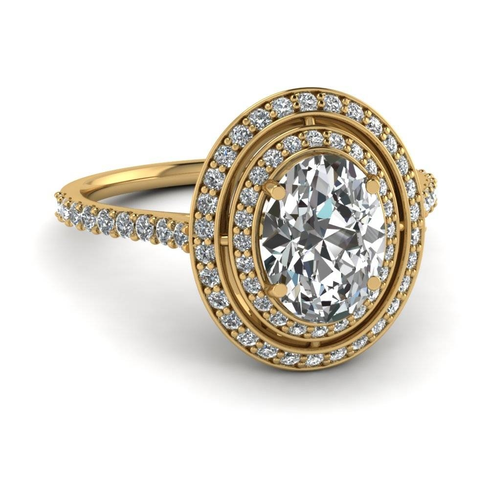 Yellow Gold Oval White Diamond Engagement Wedding Ring In Pave For Oval Wedding Rings Sets (Gallery 11 of 15)