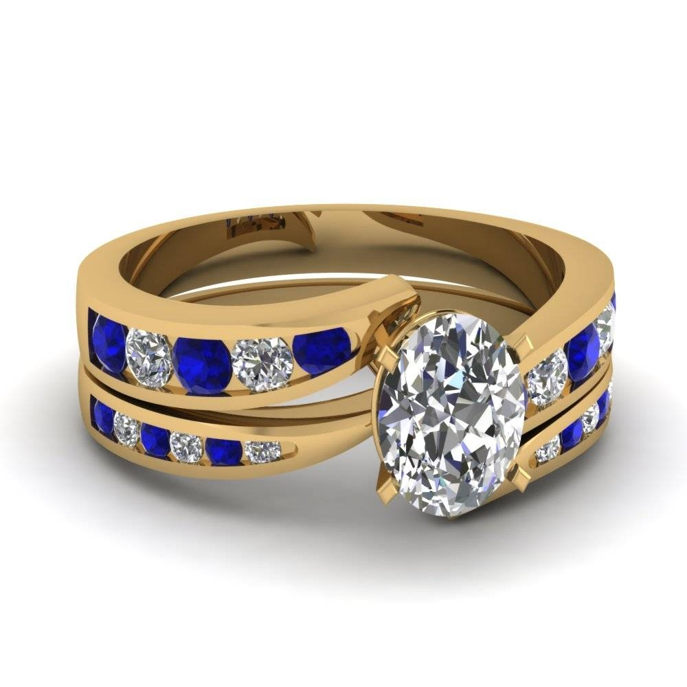 Yellow Gold Oval White Diamond Engagement Wedding Ring With Blue Pertaining To Blue Sapphire And Diamond Wedding Bands (Gallery 6 of 15)