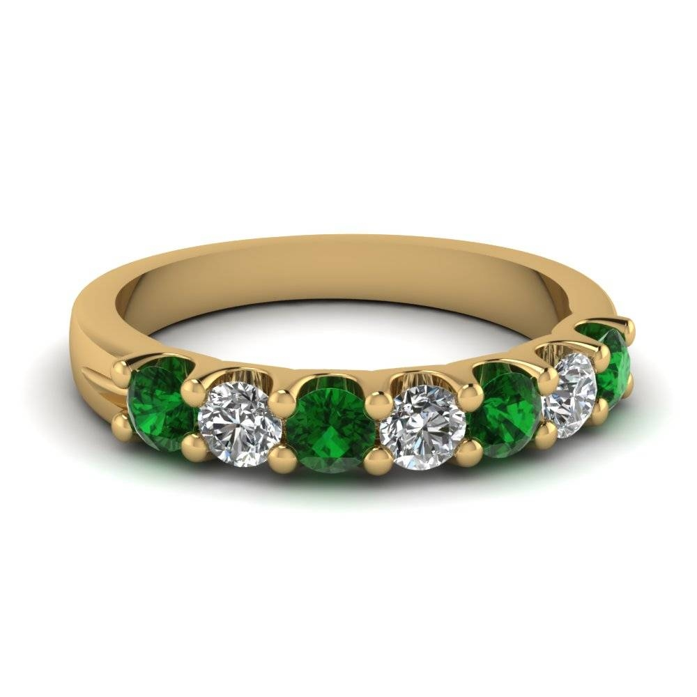 Yellow Gold Round Green Emerald Wedding Band With White Diamond In Regarding Emerald Wedding Rings (Gallery 8 of 15)