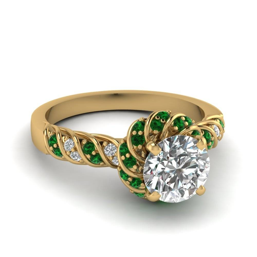 Yellow Gold Round White Diamond Engagement Wedding Ring With Green Inside Emrald Engagement Rings (View 8 of 15)